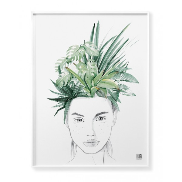 Exotic leaves woman poster