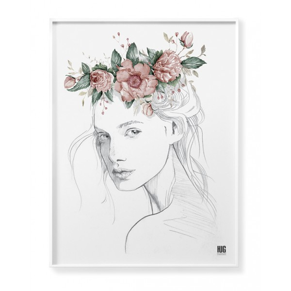 Red poppy woman poster