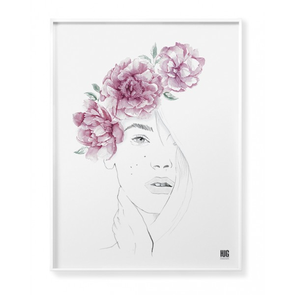 Peony woman poster